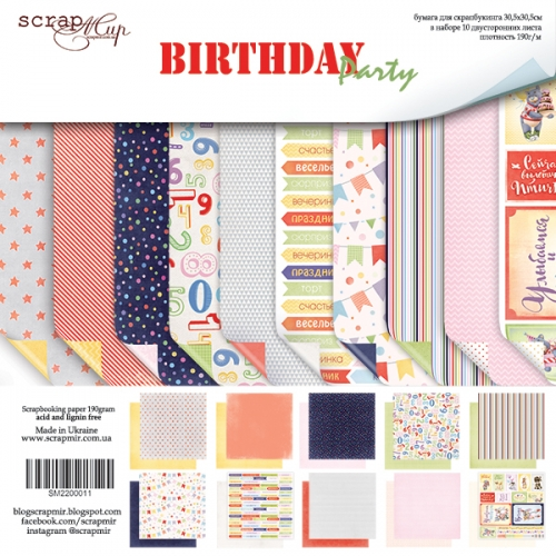 Набор бумаги ''Birthday Party'' от Scrapmir, 30*30 см, 10 листов