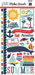 Наклейки Summer Adventure Sticker Sheet от Echo Park, 15х30 см, 1шт