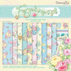 Набор бумаги Forget Me Not от Dovecraft, 30*30 см, 12 листов