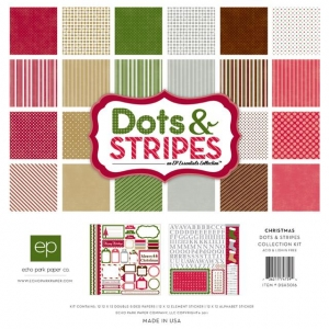 Набор бумаги Dots & Stripes Christmas, 30х30 см, Echo Park 12 листов + 2 листа наклеек