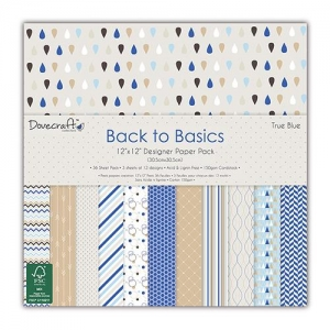 Набор бумаги Back to Basics – True Blue от Dovecraft, 12 листов, 30*30 см