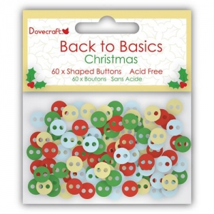 Пуговицы Dovecraft Christmas Back to Basics Buttons, 60 шт